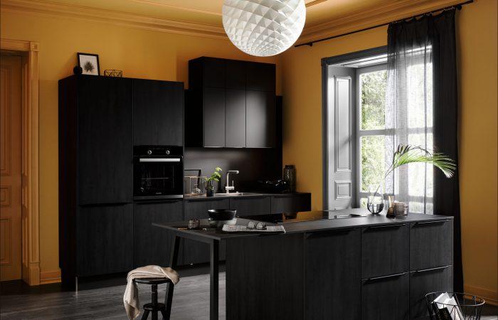 Cuisine noir jaune moderne